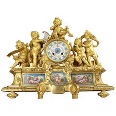 French Louis XVI Style Mantel Clock with Sevres Plaques, circa 1870