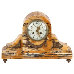 French Louis XVI Style Marble Mantel Clock, Early 1900s