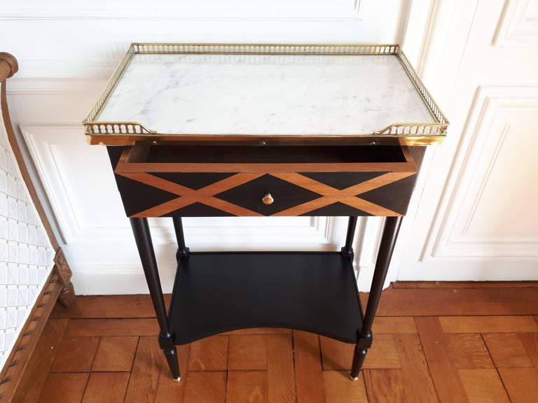 20th Century French Louis XVI Style Marble Nightstand For Sale