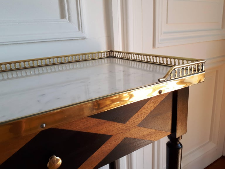French Louis XVI Style Marble Nightstand For Sale 1