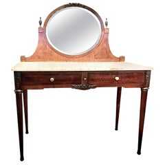French Louis XVI Style Marble-Top Dressing Table