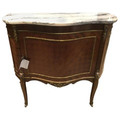 French Louis XVI Style Marble Top Mahogany Cabinet with Marquetry Inlay, Ormolu