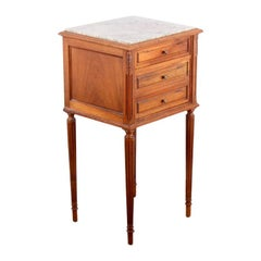 French Louis XVI-Style Marble-Top Nightstand
