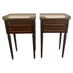 French Louis XVI Style Marble-Top Nightstands