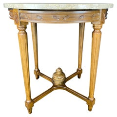 French Louis XVI Style Marble Top Side Table or Night Stand