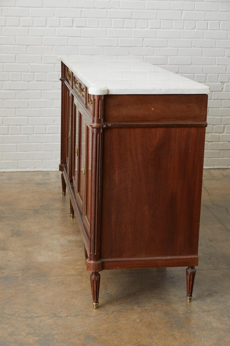 French Louis XVI Style Marble-Top Sideboard Enfilade For Sale 10