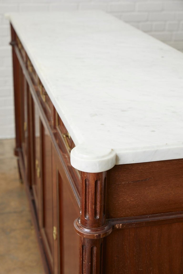 French Louis XVI Style Marble-Top Sideboard Enfilade For Sale 11