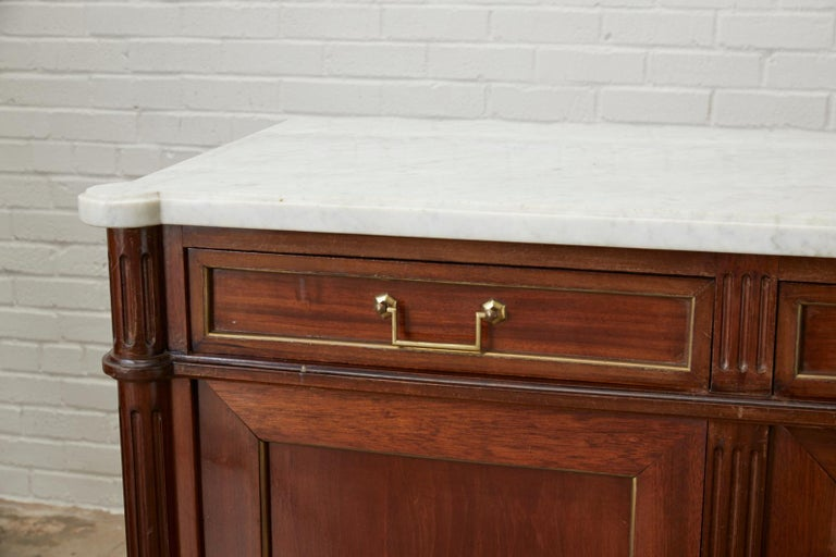 20th Century French Louis XVI Style Marble-Top Sideboard Enfilade For Sale