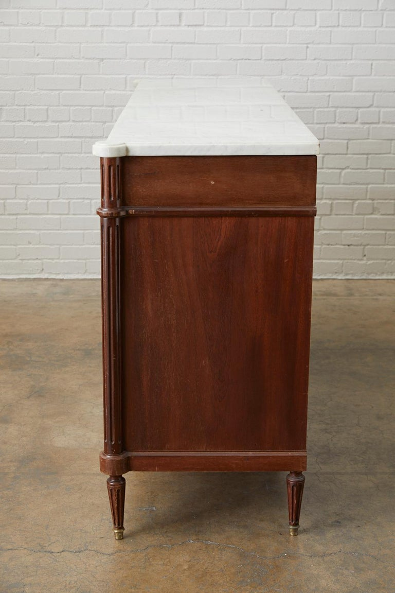 French Louis XVI Style Marble-Top Sideboard Enfilade For Sale 1