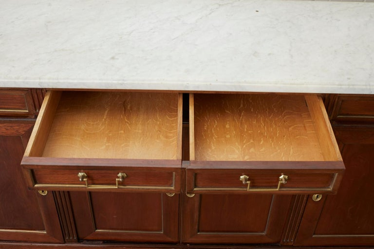 French Louis XVI Style Marble-Top Sideboard Enfilade For Sale 2