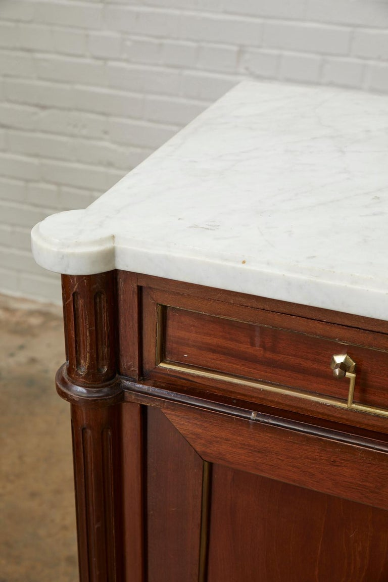 French Louis XVI Style Marble-Top Sideboard Enfilade For Sale 3