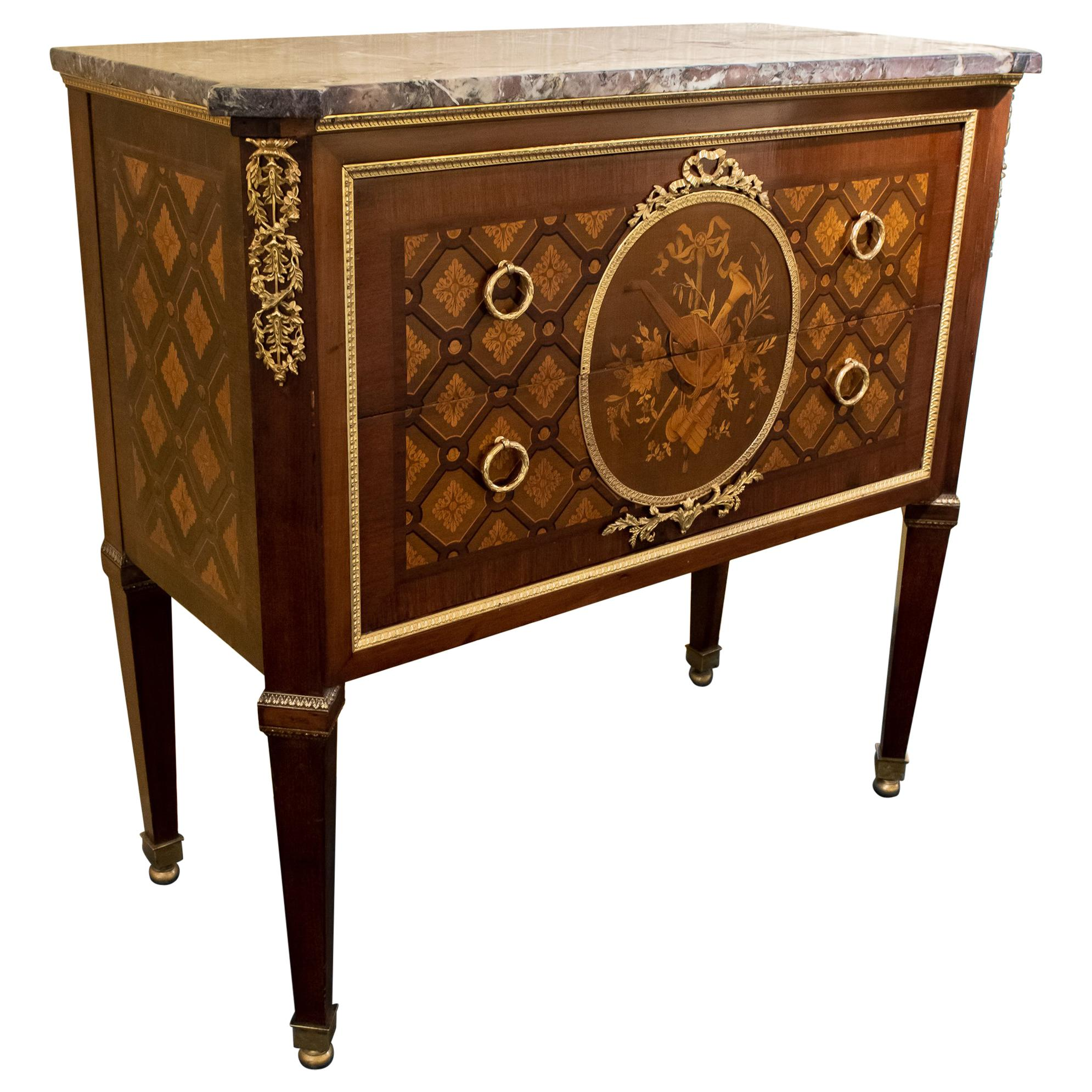 French Louis XVI Style Marquetry Inlaid Marble-Top Commode