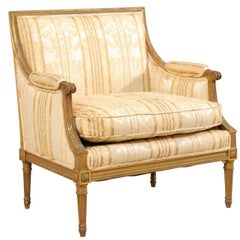 French Louis XVI Style Marquise Wide-Set Turn of the Century Armchair