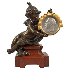 French Louis XVI Style Mid-19th Century Bronze, Ormolu and Marble Statue