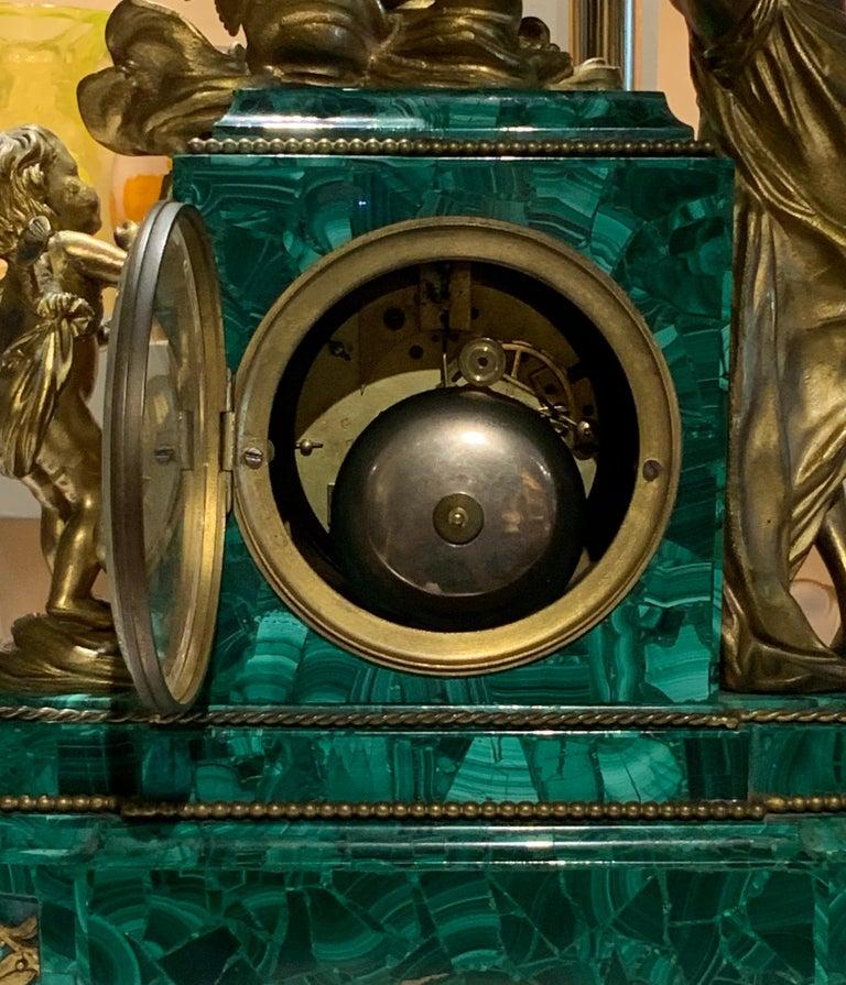 French Louis XVI Style Napoleon III Bronze Mounted Malachite Mantel Clock For Sale 5