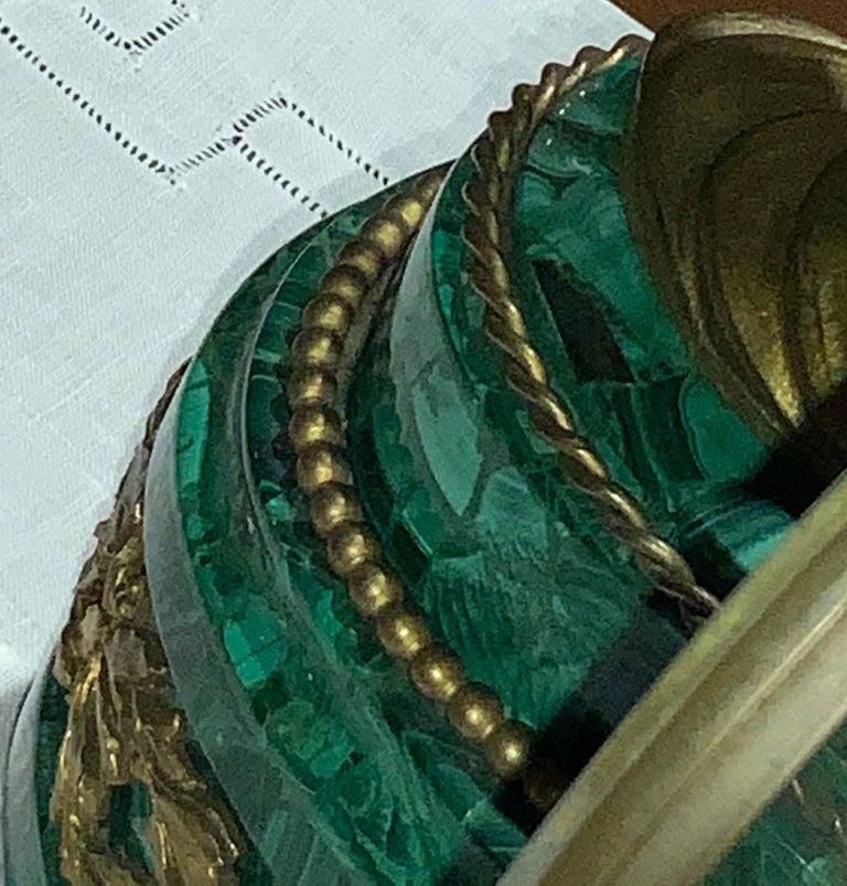 French Louis XVI Style Napoleon III Bronze Mounted Malachite Mantel Clock For Sale 7