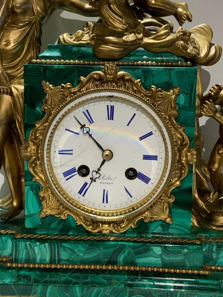 Beaded French Louis XVI Style Napoleon III Bronze Mounted Malachite Mantel Clock For Sale