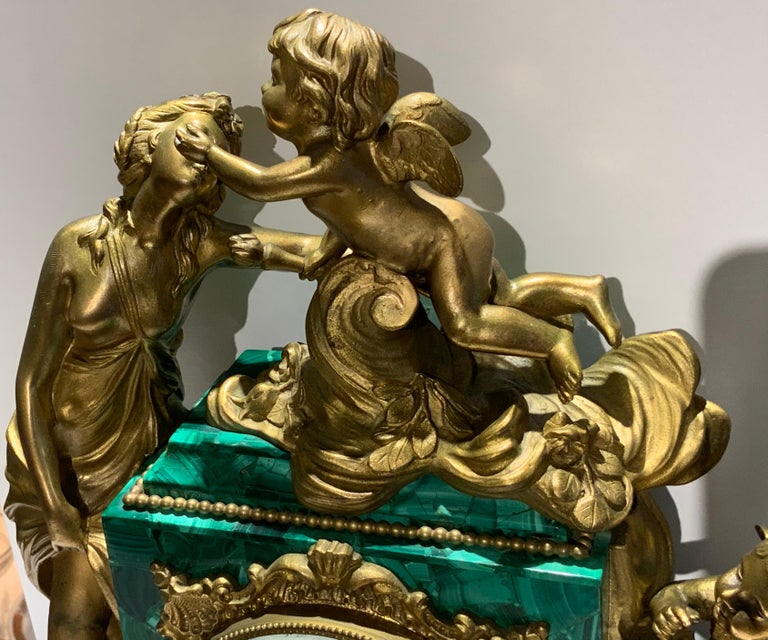 19th Century French Louis XVI Style Napoleon III Bronze Mounted Malachite Mantel Clock For Sale