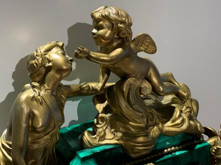French Louis XVI Style Napoleon III Bronze Mounted Malachite Mantel Clock For Sale 1