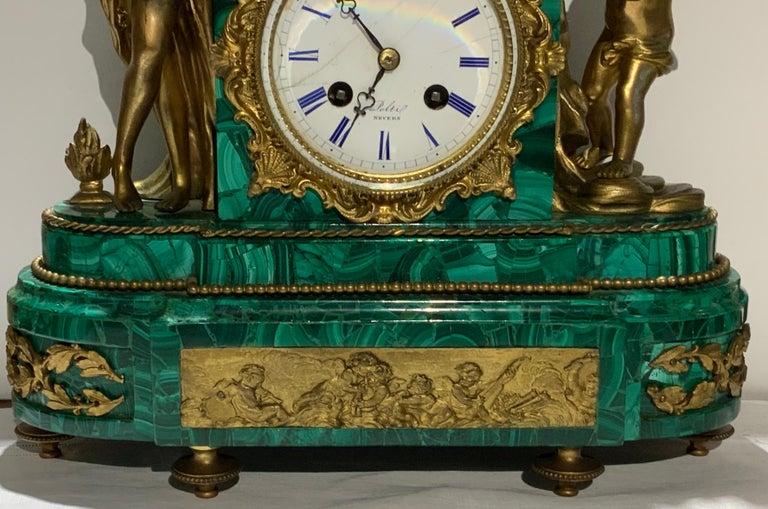 French Louis XVI Style Napoleon III Bronze Mounted Malachite Mantel Clock For Sale 2