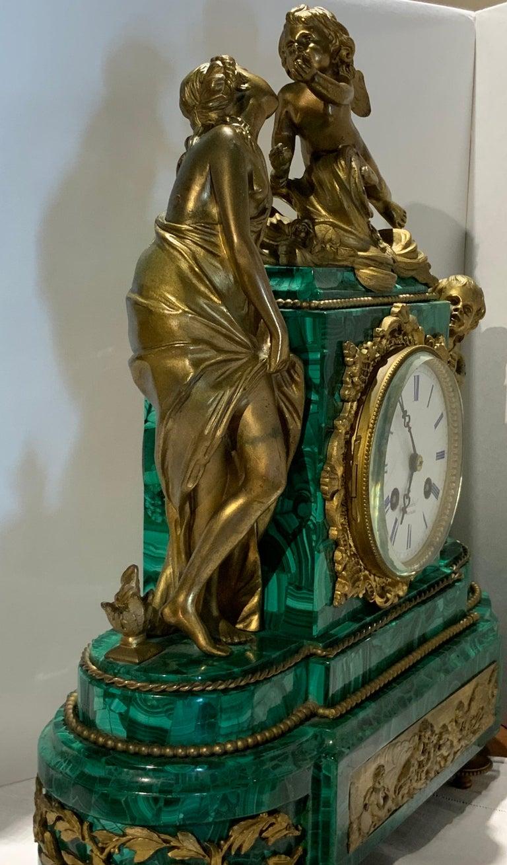 French Louis XVI Style Napoleon III Bronze Mounted Malachite Mantel Clock For Sale 3