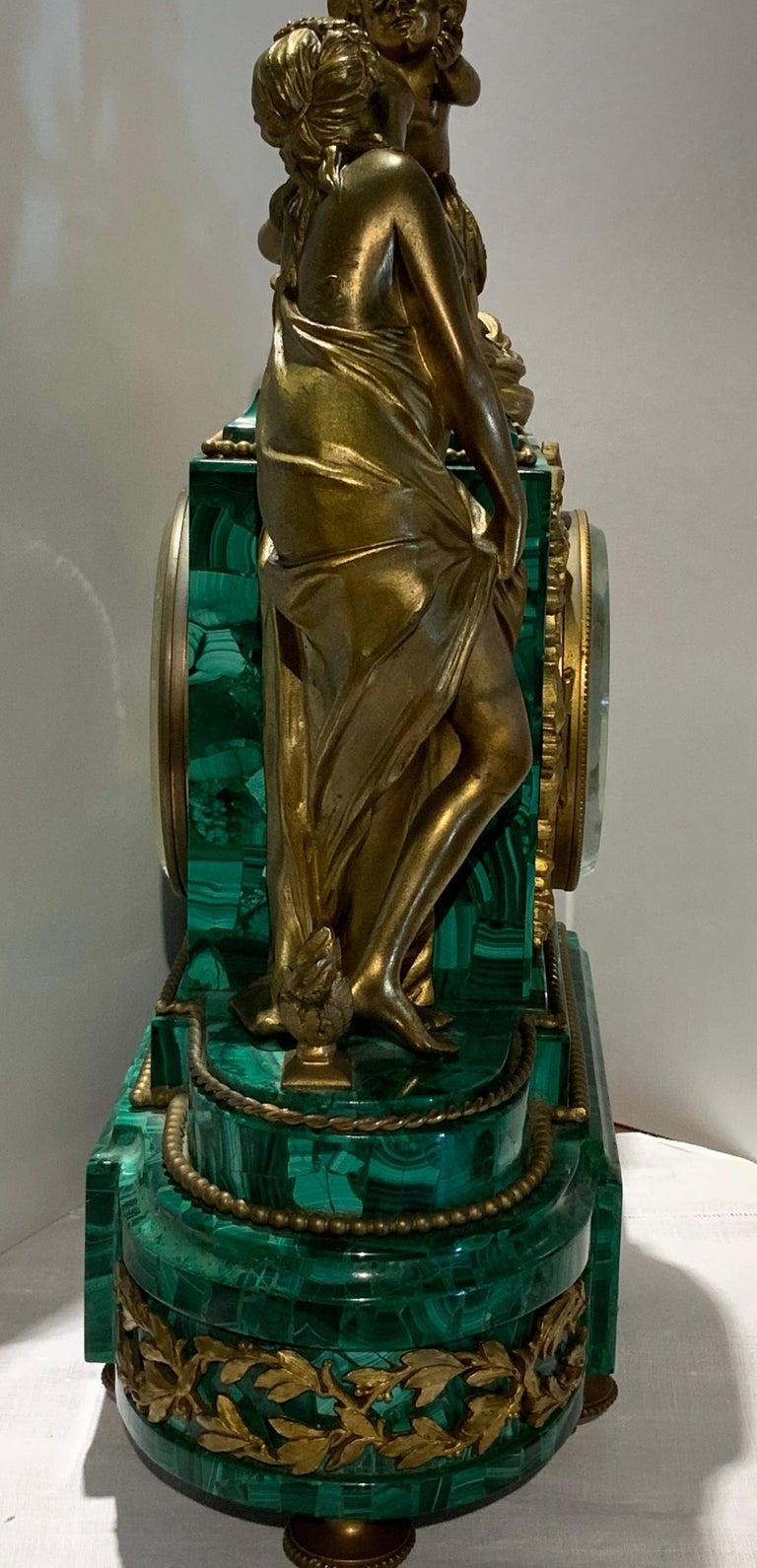 French Louis XVI Style Napoleon III Bronze Mounted Malachite Mantel Clock For Sale 4
