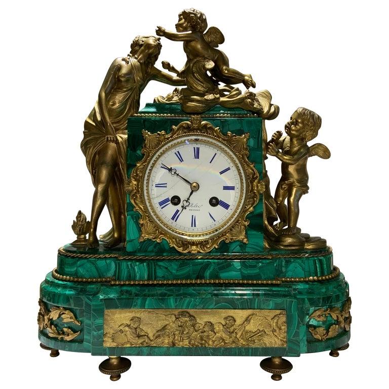 French Louis XVI Style Napoleon III Bronze Mounted Malachite Mantel Clock For Sale