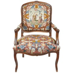French Louis XVI Style Needle Point Fauteuil