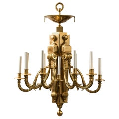 French Louis XVI Style Neoclassical Gilt Bronze Chandelier