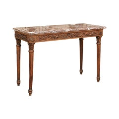 French Louis XVI Style Oak Console Table with Red Marble Top and Carved Foliage