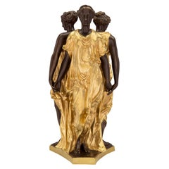 French Louis XVI Style Ormolu and Bronze Statue of the Three Graces