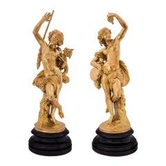 French Louis XVI Style Ormolu Festive Figural Statues, Signed Devaulx