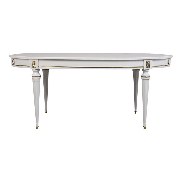 Louis XVI White Oval Dining Table For Sale