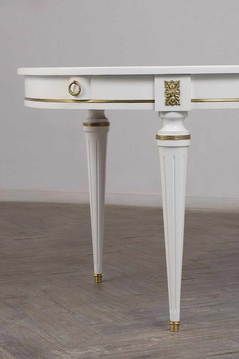 Brass French Louis XVI Style Oval Dining Table For Sale