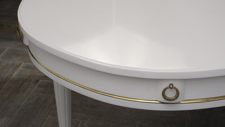 Brass White Oval Dining Table For Sale