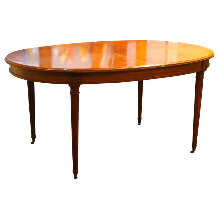 French Louis Xvi Style Oval Extending Dining Mahogany Table With Wheel Feet For