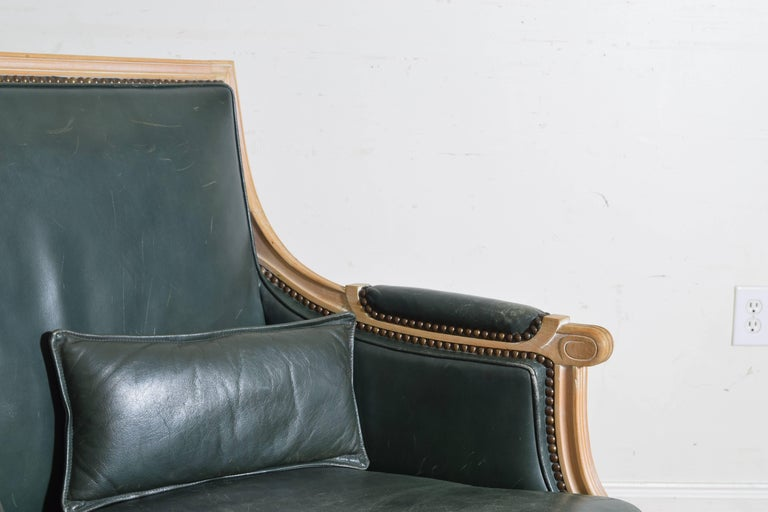 French Louis XVI Style Oversized Leather Upholstered Bergere, Mid-20th Century For Sale 3