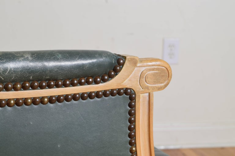 French Louis XVI Style Oversized Leather Upholstered Bergere, Mid-20th Century For Sale 5