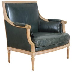 French Louis XVI Style Oversized Leather Upholstered Bergere, Mid-20th Century