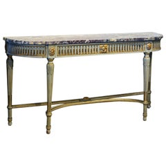 French Louis XVI Style Paint and Parcel-Gilt Carved Marble-Top Console Table