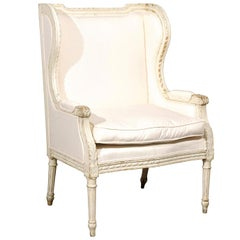 French Louis XVI Style Painted and Upholstered Bergère Chair with Custom Cushion