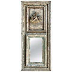 French Louis XVI Style Painted Carved Trumeau Mirror, circa 1900s