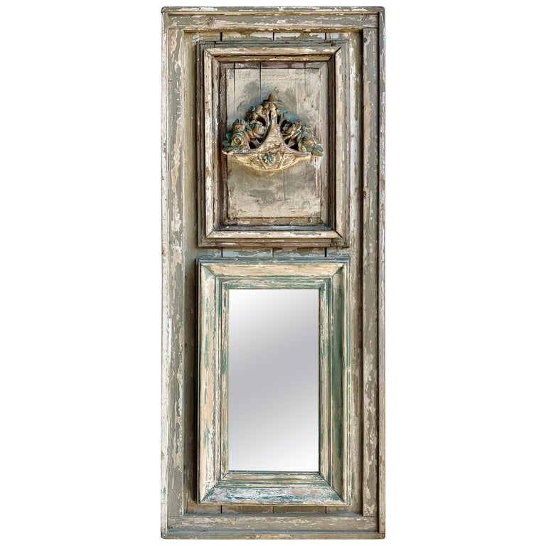 French Louis XVI Style Painted Carved Trumeau Mirror, circa 1900s For Sale