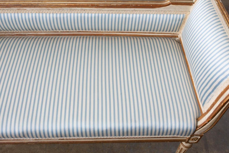 French Louis XVI Style Painted Window Bench Banquette For Sale 5