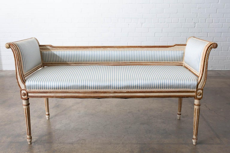 French Louis XVI Style Painted Window Bench Banquette For Sale 7