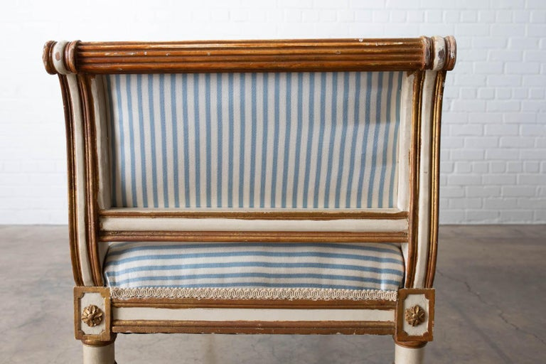 French Louis XVI Style Painted Window Bench Banquette For Sale 8