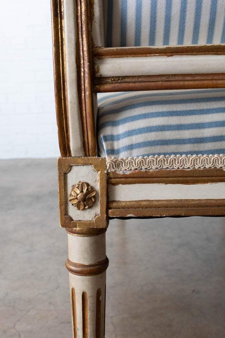 French Louis XVI Style Painted Window Bench Banquette For Sale 9