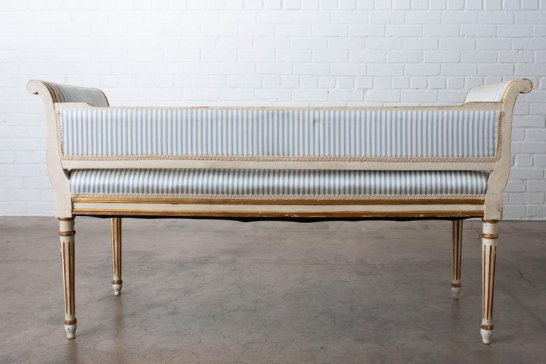 French Louis XVI Style Painted Window Bench Banquette For Sale 10