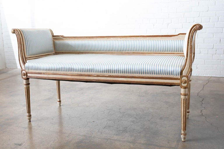 Gilt French Louis XVI Style Painted Window Bench Banquette For Sale