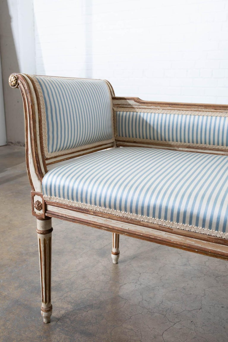19th Century French Louis XVI Style Painted Window Bench Banquette For Sale